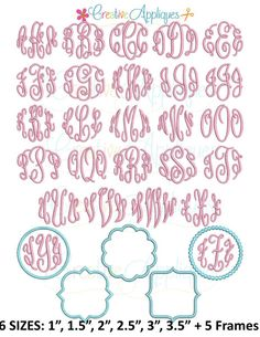 Embroidery Font Elegant Master Circle Monogram Embroidery Font 6 sizes + 5 frames REPIN THIS then click here: https://creativeappliques.com/