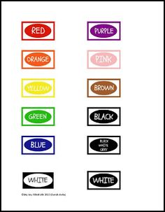 Crayon Organization & Color Labels Printable- To use as a template to make color matching puzzles.