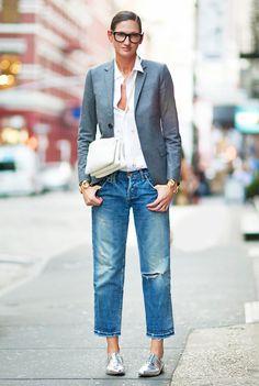 Jenna Lyons in a blazer, boyfriend jeans, oxfords, Celine trio.
