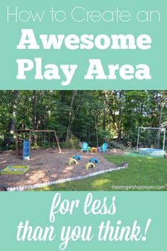 How to Create an Awesome Play Area for Less Than You Think - Get your kids outside to play! You don't have to spend a fortune to create a great play area for your kids to play in. Check out how we did it on the cheap and how you can save even Kids Outdoor Play, Outdoor Play Areas, Kids Play Area, Backyard For Kids, Outdoor Fun, Diy For Kids, Outdoor Ideas, Backyard Ideas, Outdoor Toys