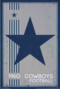 Dallas Cowboys Retro NFL Team Logo Poster 22x34