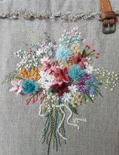 프랑스자수 가방 : 네이버 블로그 Embroidery 3d, Embroidery Flowers Pattern, Flower Patterns, Cross Stitch Embroidery, Crochet Baby Hats, Silk Ribbon, Crochet Flowers, Textile Art, Hand Stitching