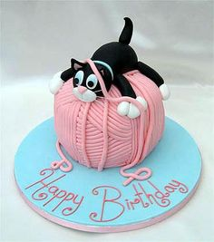 Estn Lido Occasion Cakes Yarn Cake Designs Cat Birthday