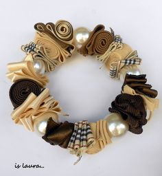 beads and fabric bracelet
