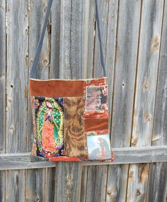 Our Lady of Guadalupe Sling Bag Handmade Crossbody Patchwork