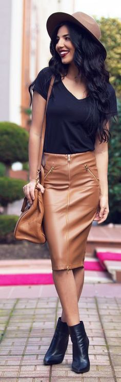 Zip Detail Brown Leather Skirt with Black top.