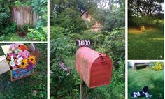a classic red mailbox, flowers for bridesmaids, a croquet set, ivy all over the place