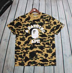 New-Mens-Fahion-Camo-Bape-Monkey-Head-Pattern-Round-Neck-A-Bathing-Ape-T-Shirt