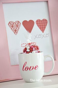 chalkboard mug made with enamal paints - thinking stamps???