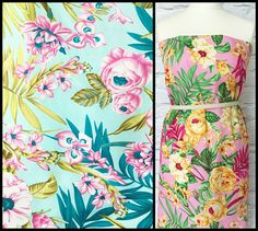 Metre to Yard conversion: 1 metre = a yard plus 3 inches. Half metre = 19.5inches. Large Floral Copacabana fabric.  Vibrant tropical flowers and foliage.  Large print - pattern repeat is 60cm/24. Roses are approx 10cm/4 wide.  2 colour options:  Blue - aqua blue background with pink flowers.  Pink - soft pink background with amber flowers.  100% light-medium weight cotton, ideal for crafts and Summer clothing such as dresses, skirts and shirts.  Available in half metre (50...