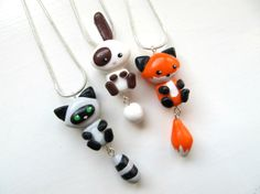 Cute Friendship Necklaces - Fox, Raccoon & Bunny by 'DapperLittleMagpie'
