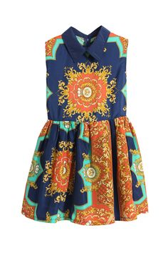 Shop Retro Printing Dark-blue Dress at ROMWE, discover more fashion styles online. Cute Dresses, Vintage Dresses, Casual Dresses, Fashion Prints, Fashion Forward, Ready To Wear, My Style, Dark Blue, Blue Orange