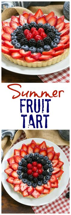 Summer Fruit Tart - Pastry crust with whipped cream and cream cheese filling topped with glorious summer berries Brownie Desserts, Oreo Dessert, Coconut Dessert, Mini Desserts, Birthday Desserts, Summer Desserts, Holiday Desserts, Just Desserts, Delicious Desserts