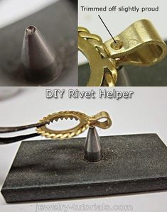 Rivet Helper - Jewelry Making Tool Tip It is well worth to spend a hour or so to make this rivet helper tool, because it saves a lot of time and effort and makes riveting much easier. #diy #metalwork #tools workshop bench, jewelry making, metalsmithing, diy tools, rivets, tool tips