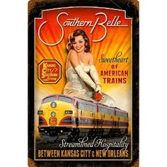 "Railroad Tin Sign - ""KANSAS CITY SOUTHERN BELLE"" Pin Up Rail Girl"