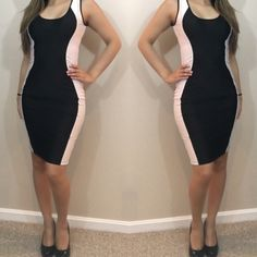 SALE! Black and white curve dress New without tag retail: Black dress with white side panels. Create the shapes of an hourglass figure. Super stretchy( polyester/spandex/cotton).                                                                       Best for S/M. (2-6)                                                      offers considered through offer button. Dresses