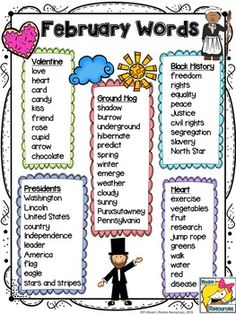 February Word ListUse these lists for your class projects and activities!  I use them mainly for writing stories and poems!Thank you for visiting my store!PamRockin ResourcesMONTHLY WORD LISTS- August, September, October are free!Monthly Word Lists- Get all 12 months for only $3 instead of .95 each!Free August Word ListFree September Word ListFree October Word ListNovember Word ListDecember Word ListsJanuary Word ListFebruary Word ListMarch Word ListApril Word ListMay Word ListJune Word…