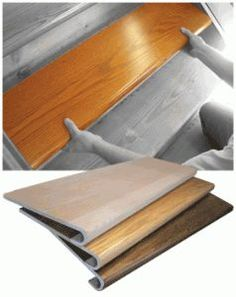 Theres actually a product called Starecasing that gives your old carpeted stairs a hardwood upgrade. 42 Cheap And Easy Home Upgrades That Will Make Your Home Look More Expensive Home Upgrades, Treads And Risers, Stair Risers, Wood Stair Treads, Step Treads, Hardwood Stairs, Laminate Stairs, Laminate Flooring, Staircase Remodel