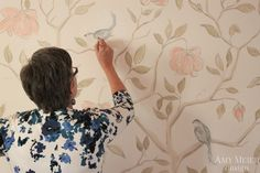 Hand painted wall paper...sounds like a project i might get myself into..