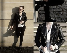 Zara Coat, H Blouse, Biker