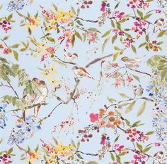 Penglai Fabric from Nina Campbell Cathay Collection A delightful curtain fabric featuring an informal design of birds nestling amongst blossoming branches. Wallpaper Ceiling, Love Wallpaper, Designer Wallpaper, Pattern Wallpaper, Nina Campbell, Duck Egg Blue And Pink Bedroom, Botanical Interior, Chinoiserie Wallpaper, Textiles