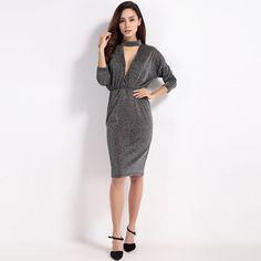 Long Sleeve Party Vestido Sexy V-neck Pencil Dress LAVELIQ
