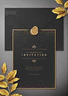 고해상/합성이미지/VIP/고급/초대/초대장/카드[우편]/사람없음/식물/나뭇잎/템플릿/백그라운드/카피스페이스/금박/블랙/금/씰/검정색/ Booklet Design Layout, Book Layout, Layout Design, Business Invitation, Invitation Cards, Christmas Party Invitations, Wedding Invitations, Grand Opening Invitations, Lounge Logo