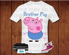 Brother pig Peppa pig for iron transfer Peppa por alafoliedesigns