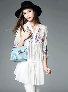 Embroidery Stand Collar Mesh Blouse
