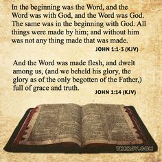 John 1:1-3 - In the beginning was the Word, and the Word was with God, and the Word was God. The same was in the beginning with God. All things were made by him; and without him was not any thing made that was made.  John 1:14 - And the Word was made flesh, and dwelt among us, (and we beheld his glory, the glory as of the only begotten of the Father,) full of grace and truth.