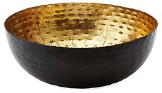 "18"" Hammered Nesting Bowl, Black/Gold 