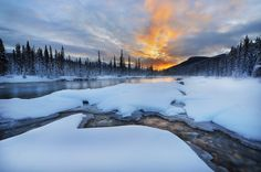 Snowy sunrise by Victor Liu on Mountain Photos, Snow Mountain, Alberta Canada, Wallpaper Winter, The Best Is Yet To Come, Beautiful Sunrise, Banff National Park, Winter White, Winter Snow