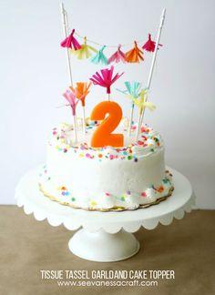 Craft: Tissue Tassel Garland Cake Topper