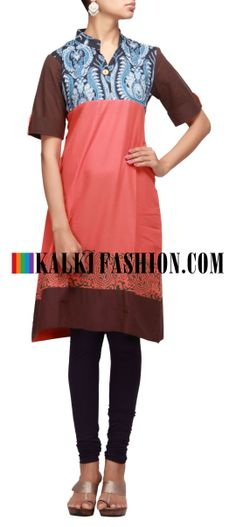 Buy Online from the link below. We ship worldwide (Free Shipping over US$100) http://www.kalkifashion.com/peach-cotton-printed-kurti.html Peach cotton printed kurti