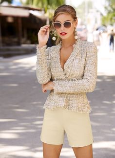 The New Parisian | Women's Frayed Trim Tweed Jacket by Boston Proper. Pair it with denim and sneakers for sophisticated edge or elevated in dress pants and high heels, this tweed is the new go-to for a touch French fashion.