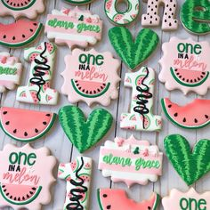One in a melon cookies. First birthday cookies. One in a melon cookies. First birthday cookies. First Birthday Cookies, 1st Birthday Party For Girls, 1st Birthday Themes, 1st Birthday Girl Party Ideas, First Birthday Outfit Girl, Birthday Photos, Watermelon Cookies, Watermelon Birthday Parties, Candy Land