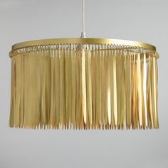 Feathered Antique Brass Drum Pendant Shade - v1