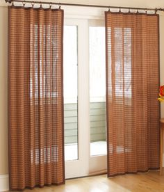 Banded Bamboo Panels Shown From Country Curtains Have A Wonderful Texture Along With Light Sliding Door