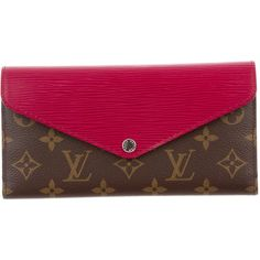 Pre-owned Louis Vuitton Marie Lou Long Wallet ($695) ❤ liked on Polyvore featuring bags, wallets, brown, coin purse wallets, pink coin purse, card slot wallet, snap coin purse and louis vuitton wallet