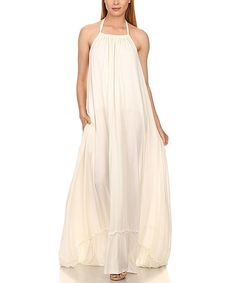 470d5ef4f7 Karen T. Design White Ruffle Hem Halter Dress