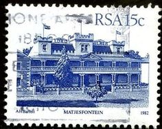 Picture of RSA - CIRCA A stamp printed in Republic of South Africa shows Matjesfontein - Lord Milner Hotel, circa 1982 stock photo, images and stock photography. Stamp Printing, Postage Stamps, Landscape Photography, South Africa, African, Prints, Pictures, Eagles, Collection