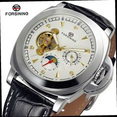 44.78$  Watch now - http://alil8t.worldwells.pw/go.php?t=32676973238 - Fashion FORSINING Men Luxury Brand Moon Phase Leather Strap Watch Automatic Mechanical Wristwatch Gift Box Relogio Releges 2016