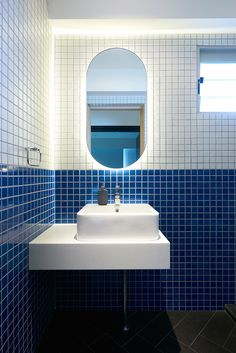 Two toned blue and white wall tiles. Ebb And Flow: A Home Inspired By Nautical Architecture | Habitus Living