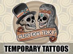 Day of the Dead Wedding Favors - Sugar Skull Wedding Temporary Tattoos #dayofthedead #wedding #favors #weddingfavors #sugarskulls #sugar #skulls