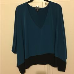 NWOT Beautiful butterfly sleeve top! Victoria's Secret rayon/Lycra loose fitting top. Butterfly sleeves!  Turquoise with black trim on the bottom.  Brand New, without tags. Extra small but very loose style - would fit even a medium! Victoria's Secret Tops Blouses