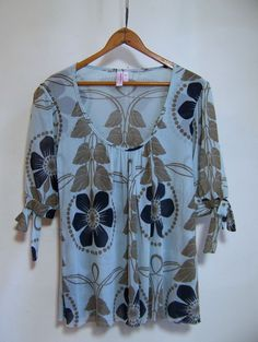 Anthropologie SWEET PEA Nylon Mesh Top Shirt Sz L Blue Taupe #SweetPea #PullonStyle
