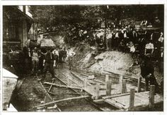 According to the Tennessee Commissioner of Labor, the Fraterville Mine explosion occurred around 7:20 on the morning of May 19, 1902. The explosion shot black smoke and debris out the mine's mouth and ventilation shaft. Rescue efforts were organized by the mine's superintendent, George Camp (E.C. Camp's son), and a Welsh mine operator from nearby Jellico named Philip Francis. The initial rescue party penetrated to just 200 feet (61 m), however, before they were forced to turn back.