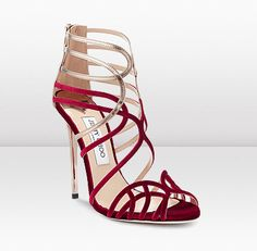 Jimmy Choo - Deep Red and Gold Strappy Sandal