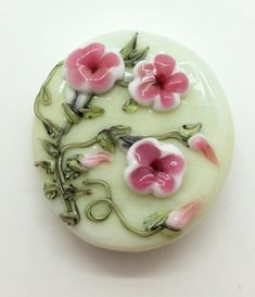 Beautiful Porcelain Pink Rose Flower Focal Bead Figurine Craft Handmade Jewelry