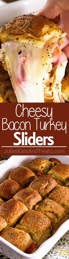 Cheesy Bacon Turkey Sliders ~ Quick and Easy Game Day Appetizer or Meal! Perfect for Using up Leftover Turkey too! Slider Buns Loaded with Turkey, Bacon, and Cheese!!